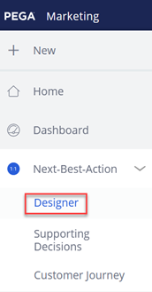 Pega Customer Decision Hub left navigation pane showing where to find the option to set real-time containers as triggers