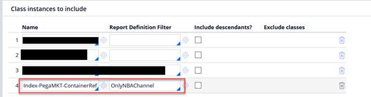 Class instances to include window showing ContainerReference added to OnlyNBAChannel Report definition filter.