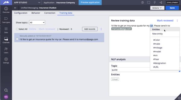 Training data tab