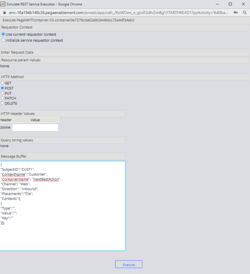 Simulate REST Service Execution window showing the JSON in the Message Buffer field.