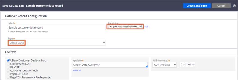 SampleCustomerDataRecord page highlighting the data set type - Monte Carlo.