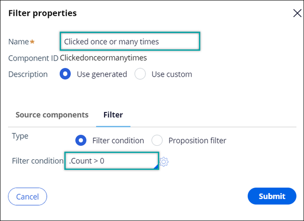 A filter condition to count whether a customer has interacted with an offer at least once.