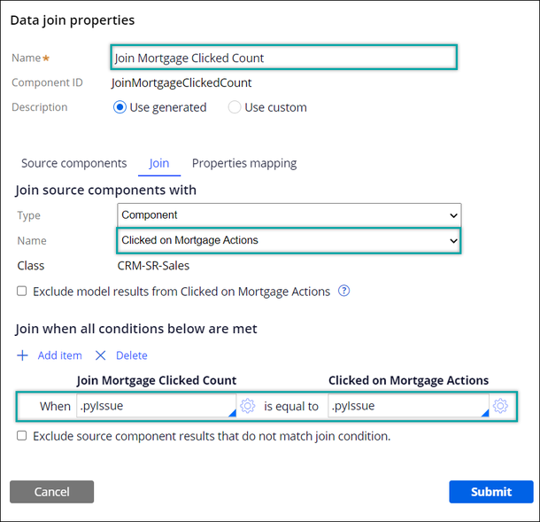 Data join properties window with a source component and a condition defined.