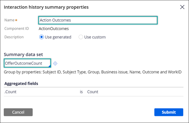 OfferOutcomeCount is selected as the summary data set.