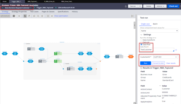 Data flow configuration for testing the output of the data mockup process.