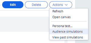 Audience Simulations in Actions Menu