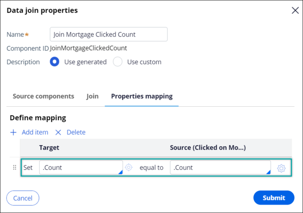 .Count target property is mapped to .Count source property.